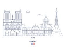 Paris City Skyline, France Royalty Free Stock Image