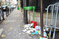 Paris Littered Street Corner 16th Arrondissement Royalty Free Stock Images