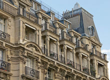 Paris Living. This is a telephoto shot of an ornate apartment building in the center of Paris Stock Photos