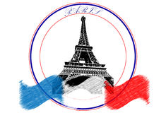 Paris logo. With the flag of France Stock Photo