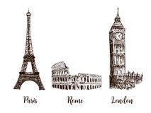 Paris, London Rome. Set of European capitals symbols. Eiffel tower, Coliseum, Big Ben. Or clock tower, westminster. Vector hand drawn sketch illustration stock illustration