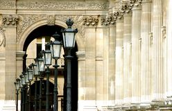 Paris Louvre Lanterns. A row of lanterns in the Louvre in Paris Royalty Free Stock Image
