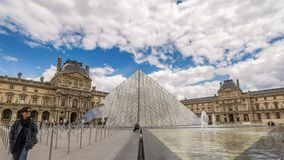 Paris Louvre Museum Time Lapse stock video footage