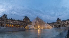 Paris Louvre Museum Time Lapse stock video footage