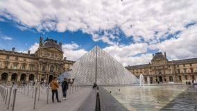 Paris Louvre Museum Time Lapse stock footage