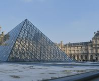 Louvre paris art museum sunny day sunset royalty free stock image