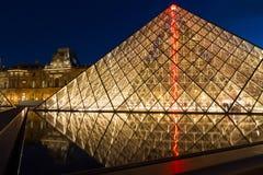 Paris Louvre Pyramid night. Principal landmark and touristic spot of Paris, France: the Louvre museum Museum du Louvre and Pyramid at late evening with blue sky Stock Photo