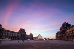 Paris Louvre at Twilight. Paris, Pyramid Louvre at Twilight Royalty Free Stock Photos