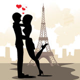 Paris in love stock illustration