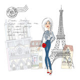 From Paris with Love card. Isolated illustration. Cute girl in Paris post or greating card from Paris Royalty Free Stock Images