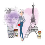 From Paris with Love card. Isolated illustration. Cute girl in Paris post or greating card from Paris Stock Photography