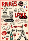 Paris love doodles Stock Photography