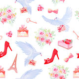 Paris in love fantasy seamless vector pattern Royalty Free Stock Photo