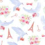 Paris in love fantasy seamless vector pattern Stock Photo