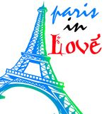Paris in love forever. A picture of a paris eiffel tower combined with a word. full of love and affection Stock Image