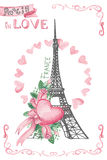 Paris in love.Hand drawn sketchy,Watercolor decor Royalty Free Stock Images