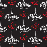 Paris love-07. Paris hand drawn vector lettering and two hearts silhouette on black background. Seamless pattern for romantic wrapping paper or textile print stock illustration