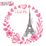 Paris in love.Watercolor floral pink wreath,Eiffel tower Stock Photography