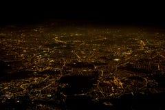 Paris luftsikt på natten Arkivfoto