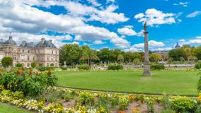 Paris, Luxembourg garden. Beautiful flowerbeds in spring, with the Senat in background stock photo