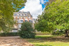 Paris, Luxembourg garden. View of the park, with beautiful building in background royalty free stock photos