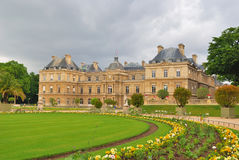 Paris. Luxembourg Gardens. Paris. Beautiful Luxembourg Gardens in a rainy day Royalty Free Stock Image