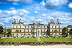 Paris: The Luxembourg Gardens Jardin du Luxembourg and Palace. France. Paris: The Luxembourg Gardens Jardin du Luxembourg are an oasis of 25 hectares in the royalty free stock photos