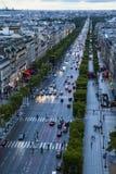 Paris/mästareElysee sikt uppifrån av bågen de Triumfera, Paris Frankrike Royaltyfria Bilder