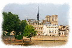 Paris made in watercolor style Royalty Free Stock Photography