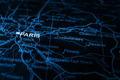 Paris on map Stock Photos