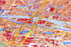 Paris on the map. A map of Paris. The Ile de la cité letters are in focus, while the rest is slightly blurred Royalty Free Stock Photos