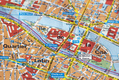 Paris on the map Stock Photo