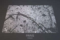 Paris map, France satellite view Stock Images