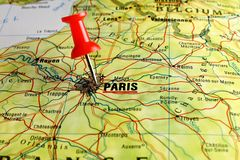Paris map with pin Royalty Free Stock Images