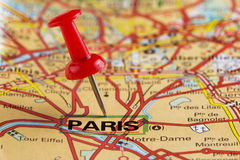 Paris map with pin Royalty Free Stock Photo