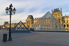 PARIS - March 20. Tourists enjoy at the Louvre Royalty Free Stock Photo