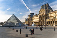 PARIS - March 20. Tourists enjoy at the Louvre Royalty Free Stock Photography