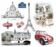 Paris-Marksteine Illustration im abgehobenen Betrag, Skizzenart stock abbildung