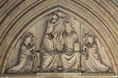 Paris -  Mary's coronation, Tympanum of the Sainte Chapelle Royalty Free Stock Image