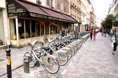 PARIS - May 7: Bicycle sharing station on May 7, 2009 in Paris, Royalty Free Stock Photography