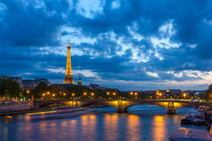 Eiffel Tower and Pont des Invalides in Paris Stock Photography
