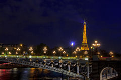 Eiffel Tower and Pont Alexandre III at night Stock Photography