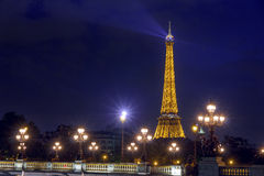 Eiffel Tower and Pont Alexandre III at night Stock Image
