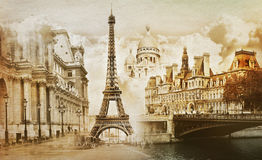Paris memories. Collage of paris landmarks in vintage style