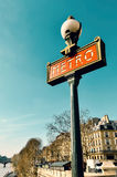 Paris metra znak Zdjęcia Stock