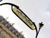 Paris metro. Classic old metro sign in paris royalty free stock images