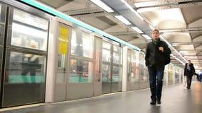 Paris Metro (AKA Metropolitain) in Paris, France,. PARIS - JAN 02: Paris Metro (AKA Metropolitain) on January 02, 2014 in Paris, France. It has 214 kilometers stock video