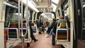 Paris Metro (aka Metropolitain) in Paris, France,. PARIS - DEC 31: Paris Metro (AKA Metropolitain) on December 31, 2013 in Paris, France. It has 214 kilometers stock footage