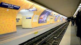 Paris Metro (AKA Metropolitain) in Paris, France,. PARIS - DEC 31: Paris Metro (AKA Metropolitain) on December 31, 2013 in Paris, France. It has 214 kilometers stock video