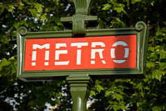 Paris metro entrance sign Royalty Free Stock Image